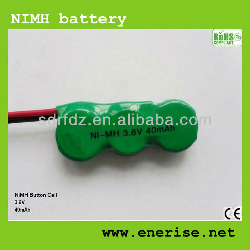NiMH Rechargeable Button Cell Battery for Flashlight/Torch/Toys/Alarm 3.6V80mAh