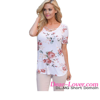 New Arrival Super Soft Floral Tee Shirt with Crisscross Neck Blouse For Wholesale