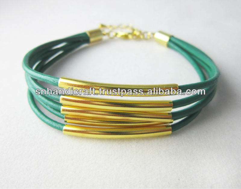 Jade Green Leather Bangle with Gold plated Tubes