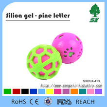 Silicone balls for Pet, Colored pet dog chew ball toys with sound and dog paw print logo