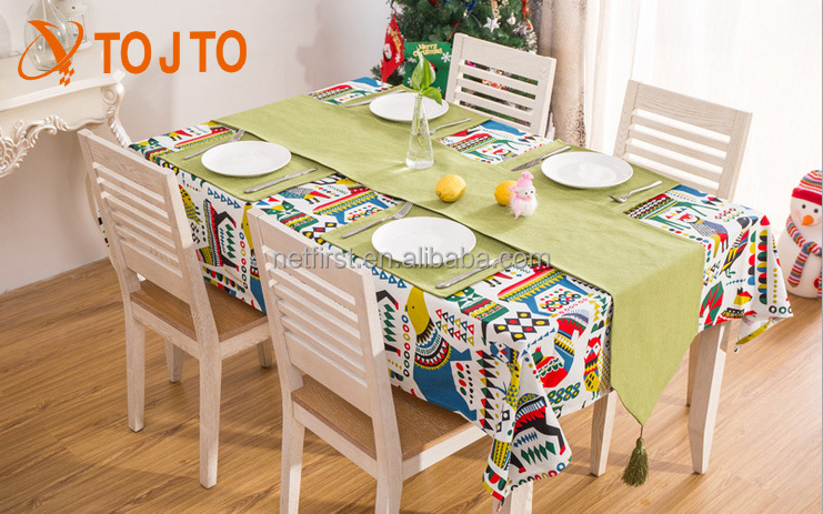 The new fashion Christmas cartoon printed cotton tablecloth
