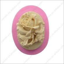 Oval shape rose design silicone fondant cake mold silicone 3D rose soap mold cake tool