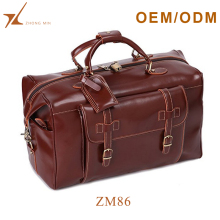 Custom weekender travel gym bag waterproof brown leather duffle bag