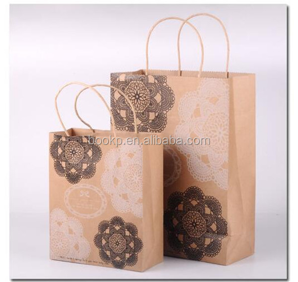 hot sale customized brown kraft paper bag with handles