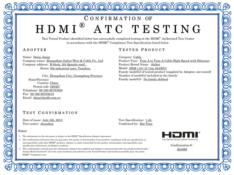 CONFIRMATION of HDMI ATC testing