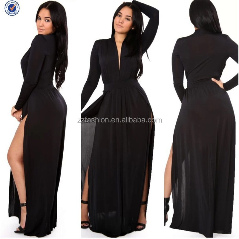 Latest Fashion Plus Size Two Split Long Sleeve Wap Maxi Evening ...