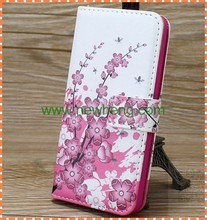 Flower Printing With Card Holder Leather Case For Apple iPhone 5/ 5S