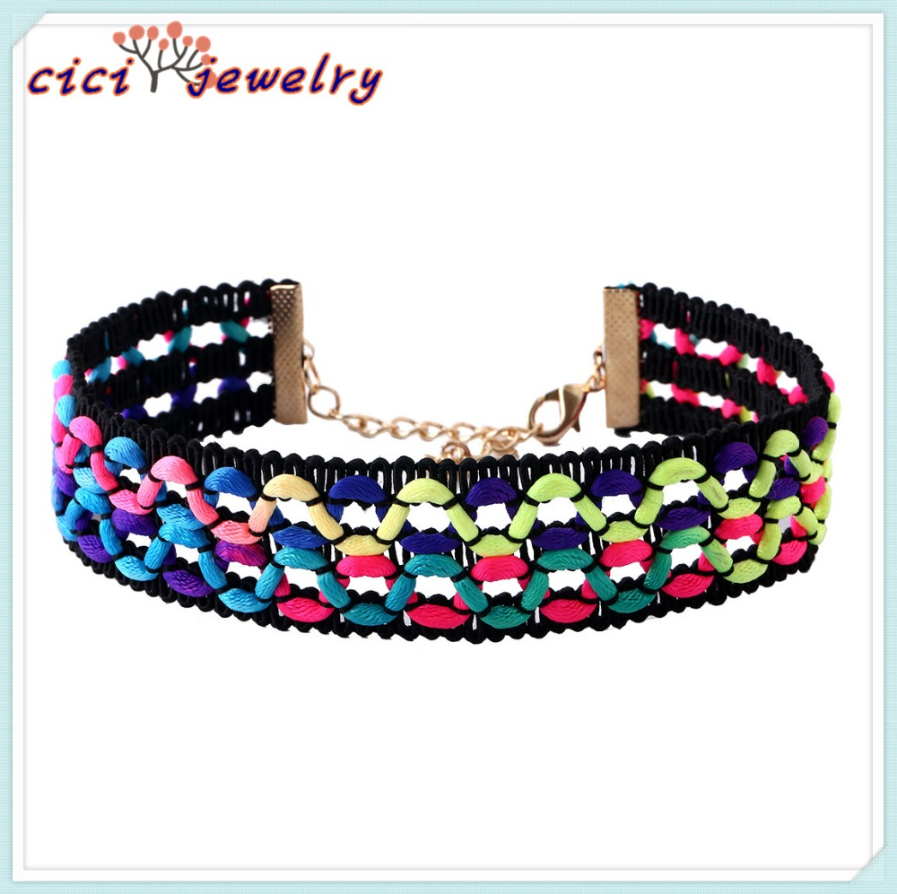 2017 hot sale fashion punk thick knit weaving choker necklace exaggerated colorful rope collar necklaces