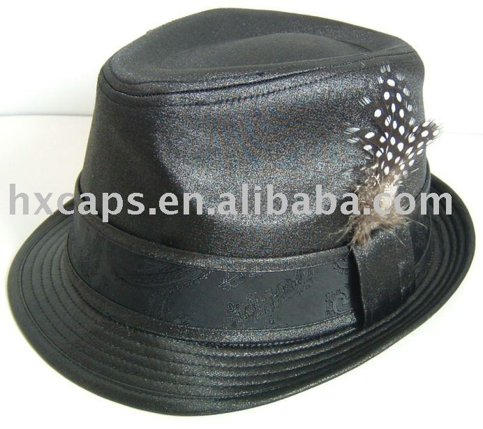 2012 fashion lady acrylic black white fedora hat