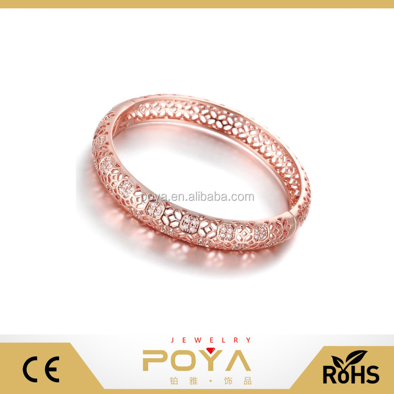 POYA Jewelry 18K Rose Gold Plated Multi-Gemstone Hollow Bangle Bracelets