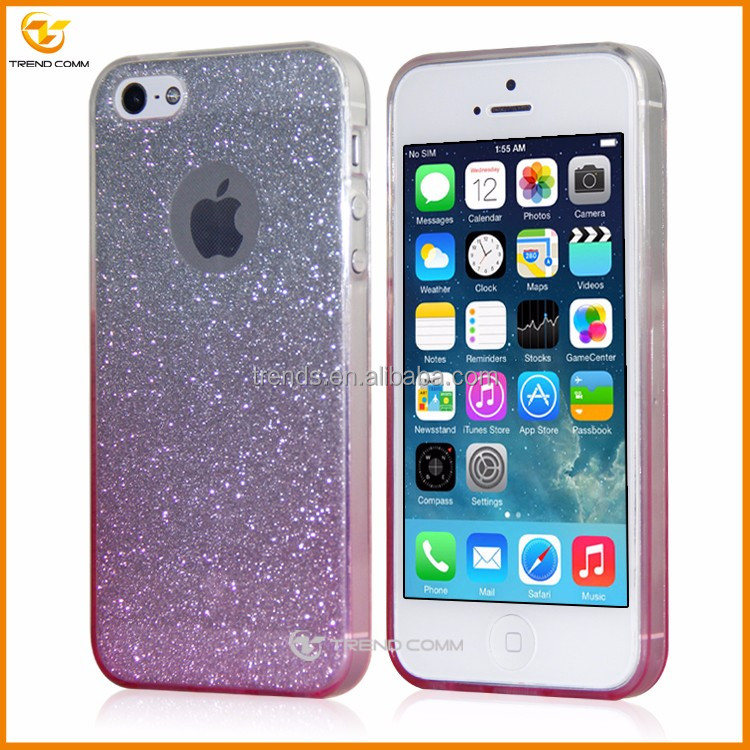 china wholesales for iphone 5 bling glitter sticker ultra thin cover case