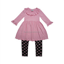Fall boutique children clothing wholesale 2 pcs set ruffle girls tops raglan shirt with heart print kid leggings suit