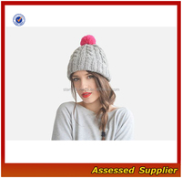 Winter fashion women PomPom knitted hat cable hand knitted beanie cap rolled brim ski hat pom pom custom color-ZT00h7