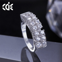 CDE fashion 2017 cubic zirconia jewelry factory bulk wholesale 925 sterling silver with zircon ring