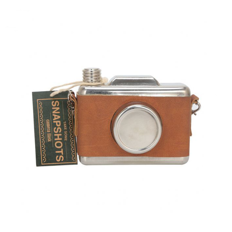 High Quality Camera shaped stainless steel hip leather mini hip flask flask flagon