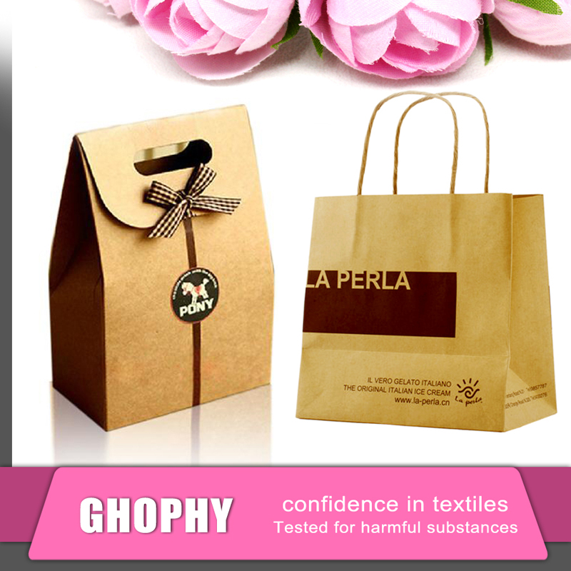 Pink print paper bag, Paper carry bag with different handle type, Paper hand bag