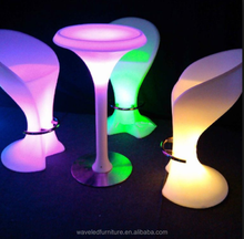 Hot sale remote control high chair party plastic color change illuminated led stool bar chair