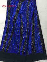 QX4379-3 wholesales royal blue beaded sequined french lace fabric /wedding dresses net french lace fabric