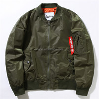 Stock High Quality Mens Green Bomber Jackets Black Shinny Fashion Zip Up Coat For Winter 100% Polyster