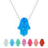 925 Sterling Silver Jewellery Pendant Necklaces Opal Hamsa Necklace Pendant