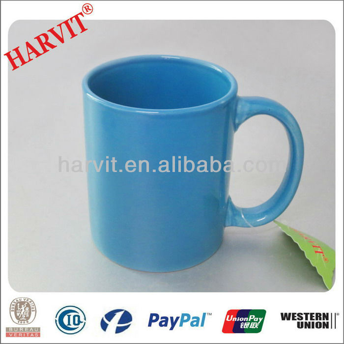 11oz color glazed blank mugs with blue color
