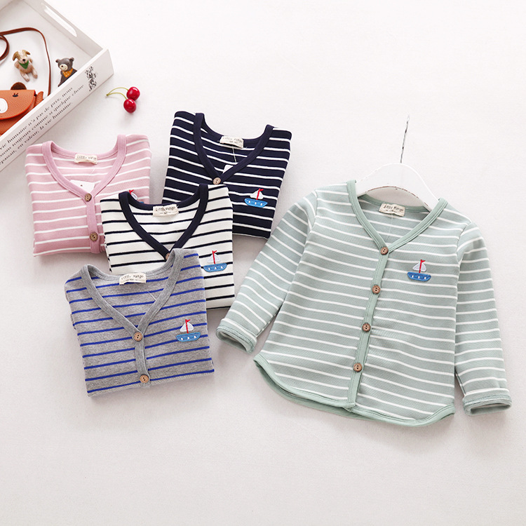 B20706A 2017 latest fashion kids cartoon Cotton Striped cardigan