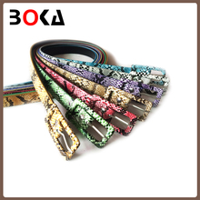 // Snake Pattern Decorative PU Leather belt // china popular leather belt factory //