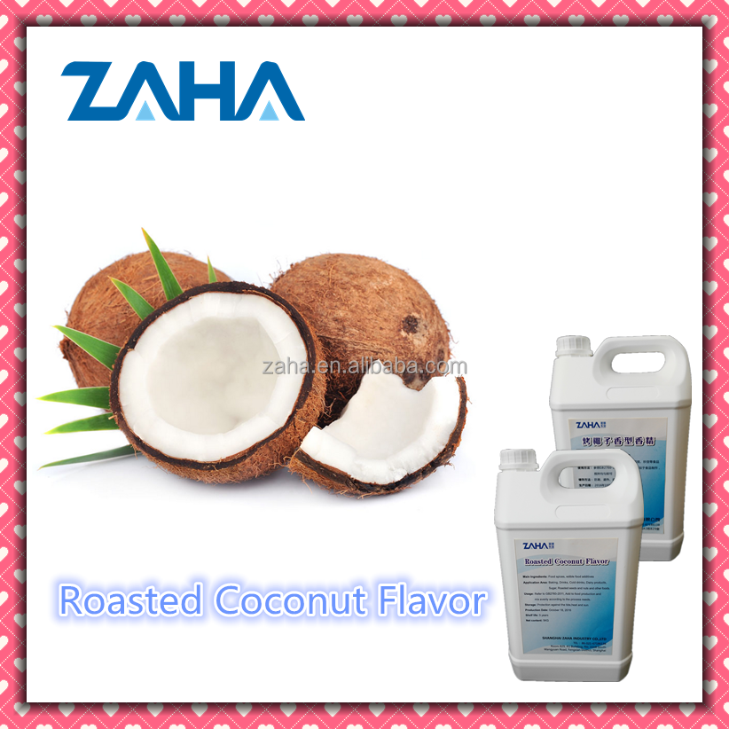 Roasted coconut powder and liquid food flavour concentrate