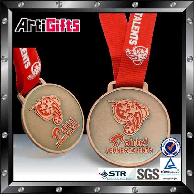 Hottest cheap metal embossed&debossed sports medal with high relief