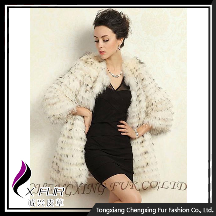 CX-G-A-220C European Style Real Raccoon Fur Fashion Coat Clothes Women