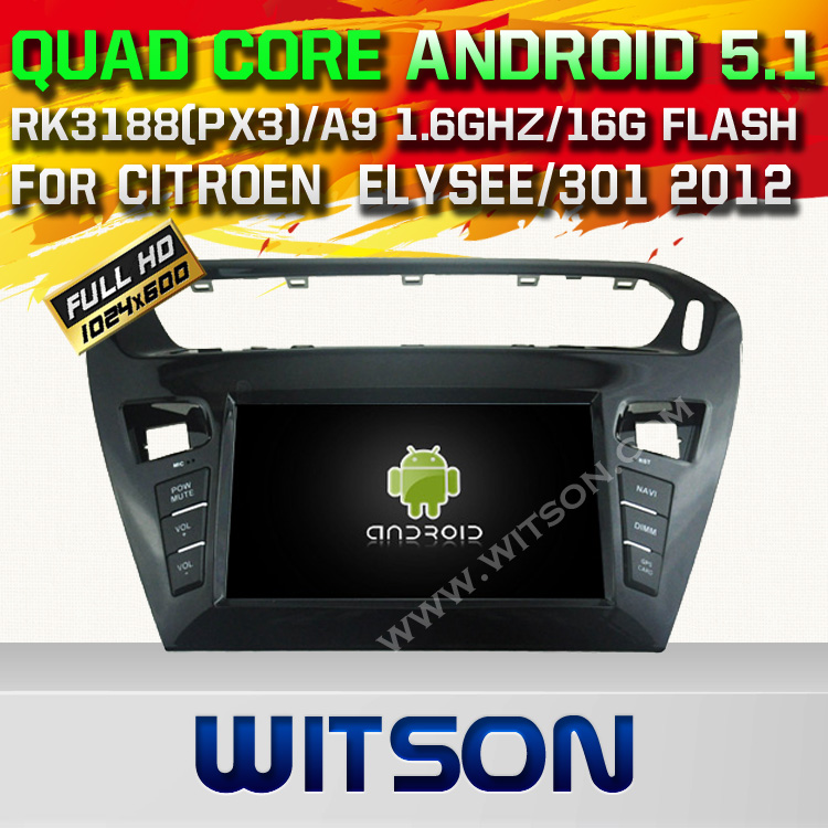 WITSON Android 5.1 AUTO CAR DVD GPS For CITROEN ELYSEE/301 2012 WITH CHIPSET 1080P 16G ROM WIFI 3G INTERNET DVR SUPPORT