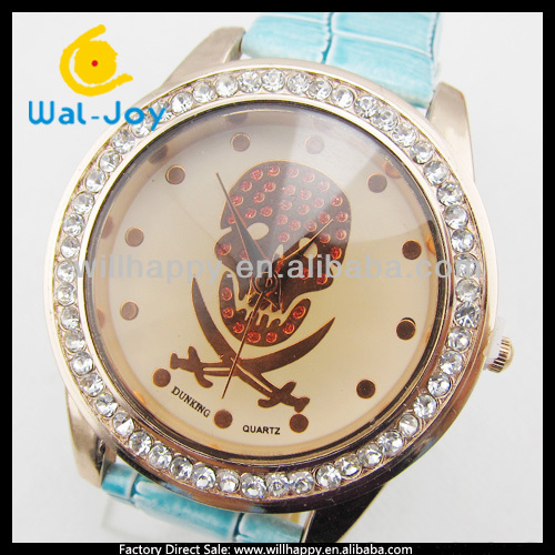 skull face design pirate watch with diamonds factory direct (SW-626)