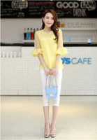 New arrival korean printed chiffon blouse women yellow blue office shirt model