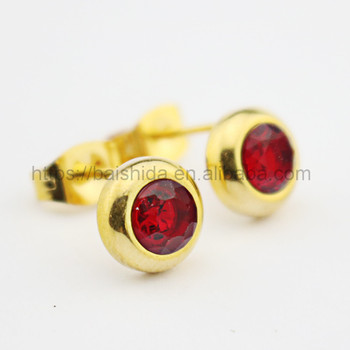 beautiful red crystal stud earrings accessories women jewelry