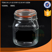 New design Glass canister set with lid and metal clip,glass bottle made in china