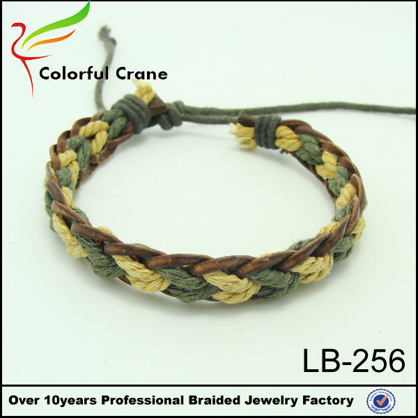 2016 fashion braided hemp bracelets,high quality leather rope and hemp braided bracelet wholesale,pulseras de moda