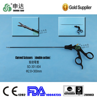 Double action Laparoscope surgical curved scissors