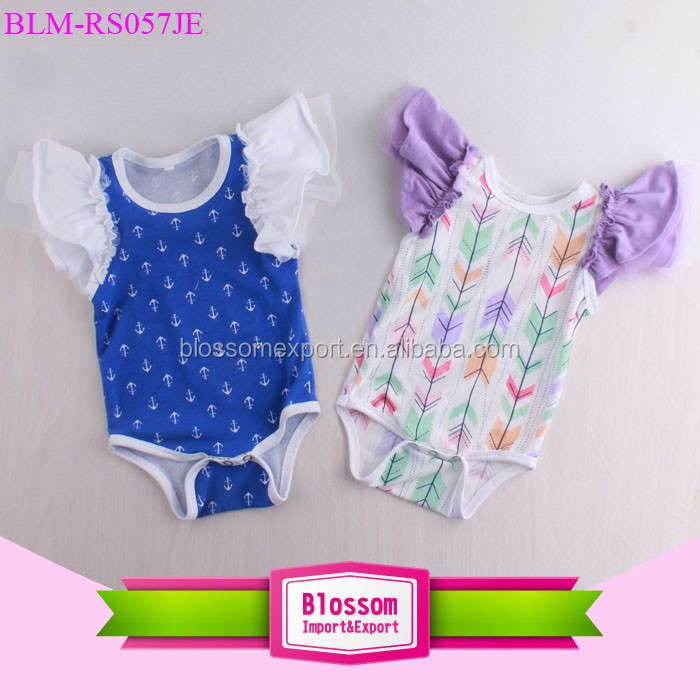Charming Flower Printed Infant & Toddlers Floral Flutter Sleeve Baby Girl Romper