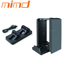 Multi - function storage station+disk, game disk storage station for PS4 with Mini Dual Controller Charging Station