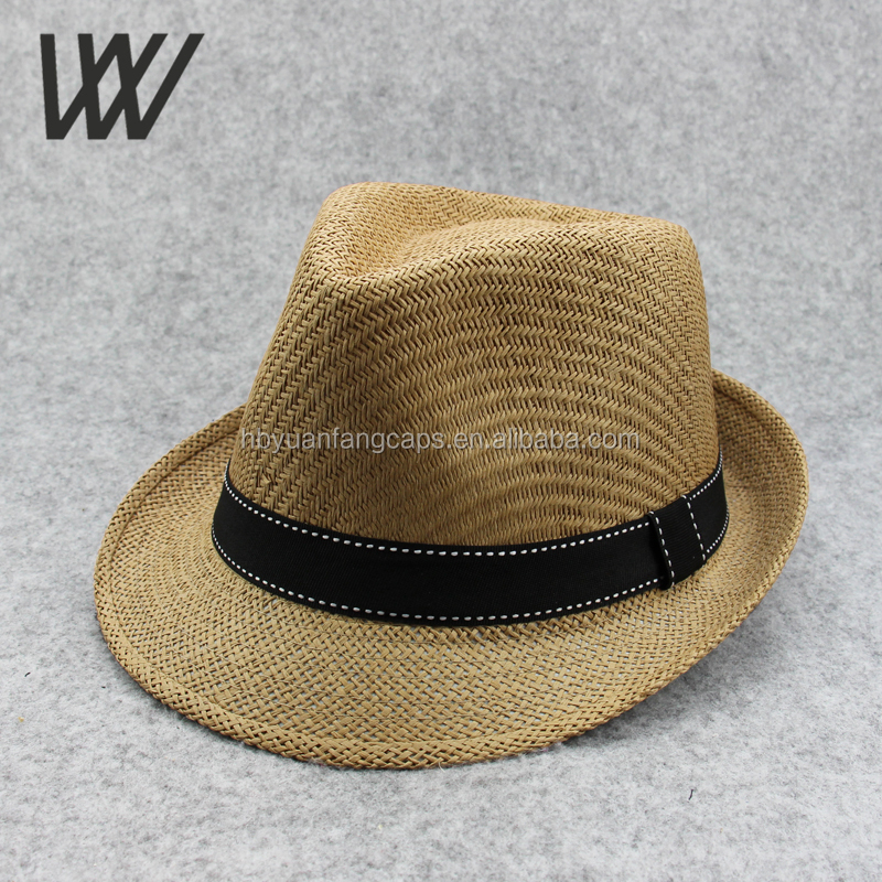 Simplicity Woven Trilby Short Brim Men / Women's Summer Straw Fedora Hat <strong>w</strong>/ Satiny Hat Band