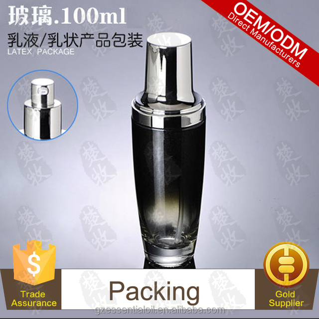 Chinese Face Whitening Lotion 100ml Glass Bottle With Pump And Sliver Cap