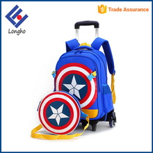 2017 new arrivals kids 3 wheel trolley school bag, fancy unique rolling school book bag with detachable round messenger bag