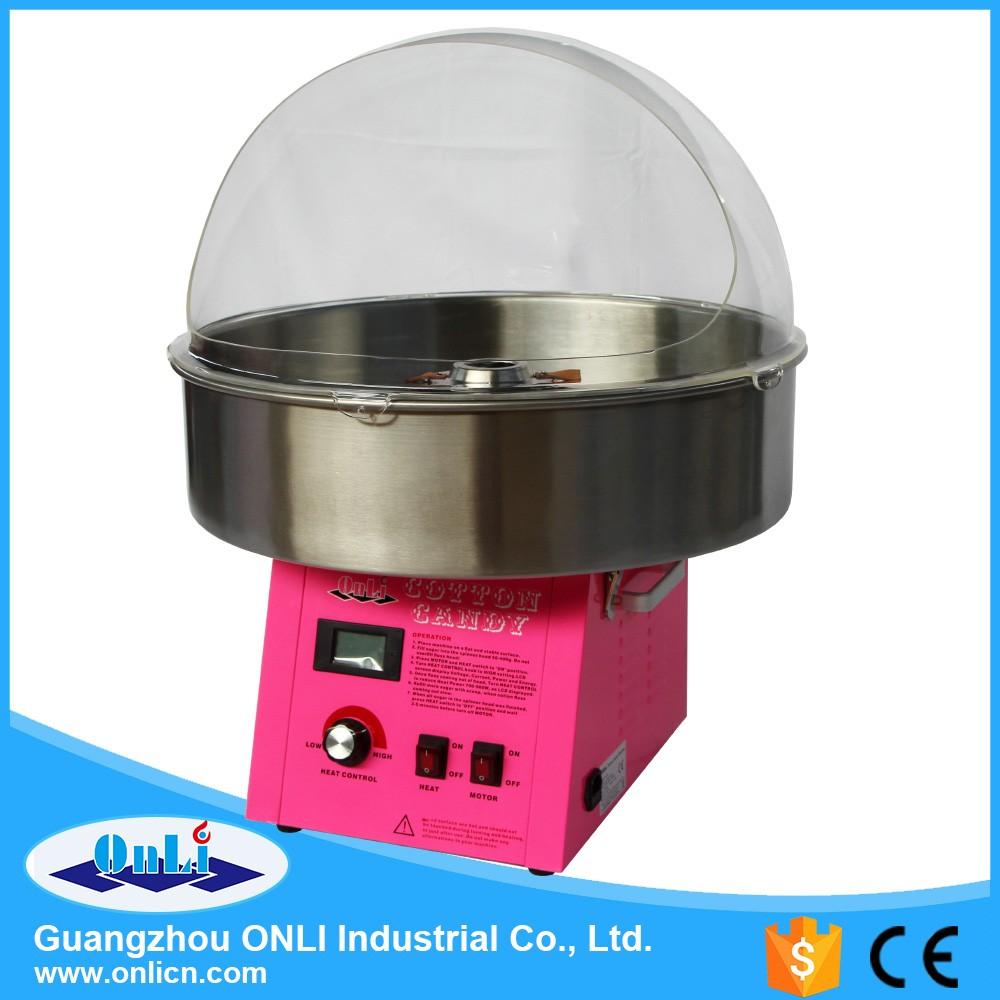 Professional cotton candy floss machine with bubble cover