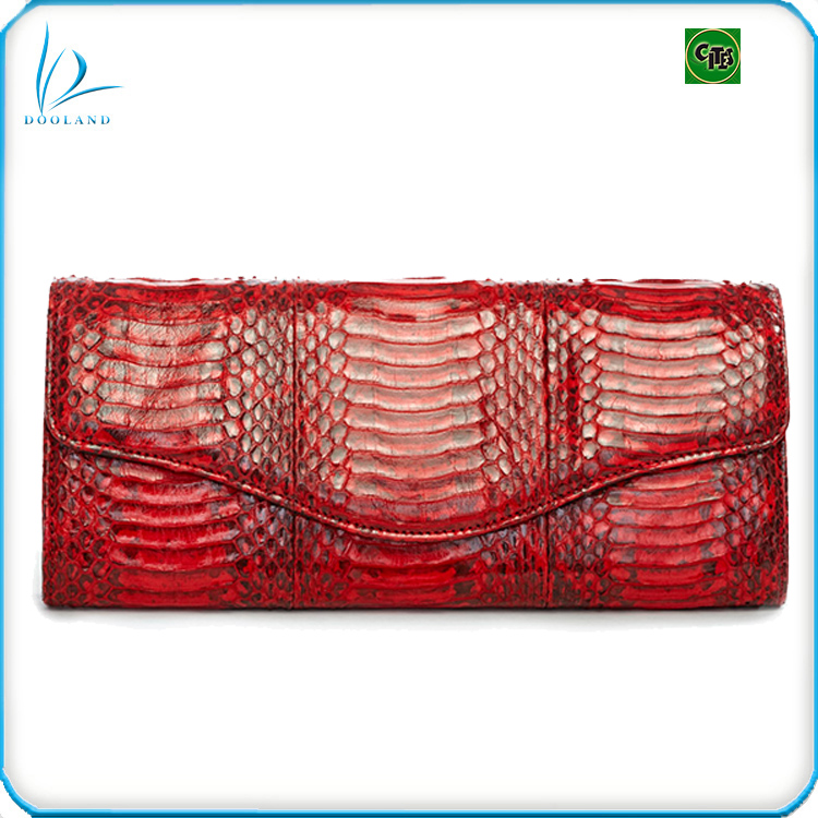 Real exotic luxury designer genuine snake skin leather clutch bag for women