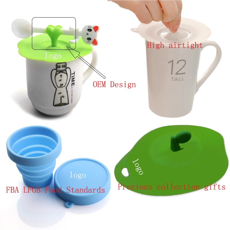 Multi-design Cup Cover Sealed Silicone Glass Coffee Mug Lid