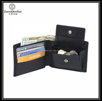 RFID blocking genuine leather men's classical wallet with button coin purse multifunctional wallets for gents made in China