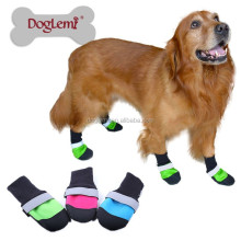 4pcs/set Pet Dog Shoes 3Color Ultra-Wear Oxford Fabric Large Dog Boots Non-slip Leather Waterproof Protective Rubber Rain Boots