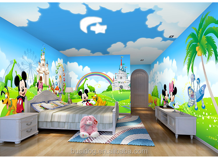 3d cartoon characters mural wallpapers for kids room for Character mural