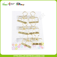Scrapbooking style 6pk 60*33mm gold binder clips set
