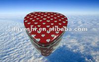 Red heart shape chocolate and gift tin boxes